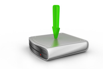 Hard disk and green arrow symbol of download the file to server