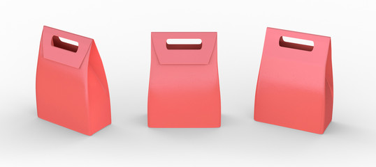 Red paper bag folded  package with handle, clipping path include