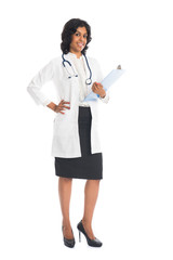 indian female doctor full body on white background