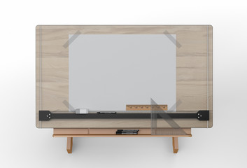 Top view of drawing table with tools , clipping path included