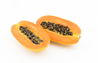 Sliced papaya on white background