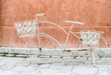 vintage white bicycle