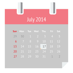 Flat calendar page for July 2014 (summer)