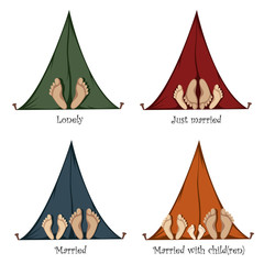 Funny Camping - Colorful variations of funny camping tents