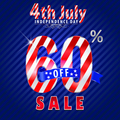 4th july Independence Day sale,60% off sale - vector eps10