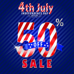 4th july Independence Day sale,50% off sale - vector eps10