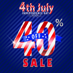 4th july Independence Day sale,40% off sale - vector eps10