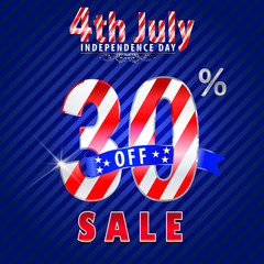 4th july Independence Day sale,30% off sale - vector eps10