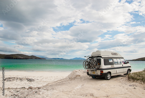 Camper van parked on beach in the Isle of Lewis, Outer Hebrides - 66419496