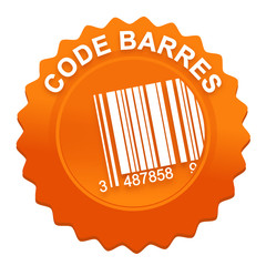 code barres sur bouton web denté orange