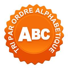 tri par ordre alphabétique sur bouton web denté orange