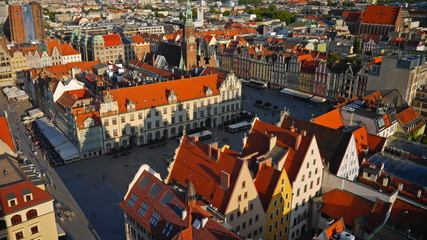 Aerial view of Wroclaw old town square, Poland. Timelapse