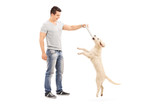 Young man holding a bone and playing with puppy