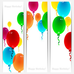 Set of holiday banners for birthday with colorful balloons and p