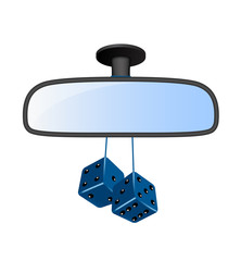 Car mirror with pair of blue dices