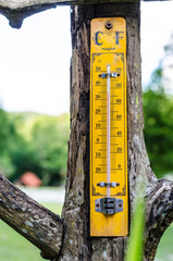 Old wooden thermometer