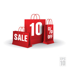 Shopping bag printed with a ten discount