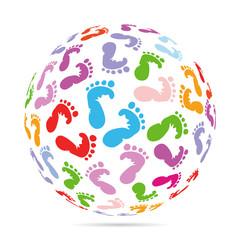 bunte Baby Fußabdrücke