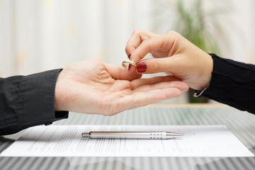 woman returned wedding ring to  husband . Divorce concept