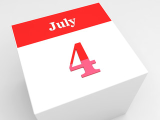 July 4 Day - calendar symbol on white cube