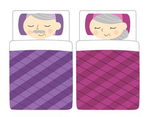 布団で寝るシニア