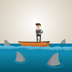 cartoon businessman on boat with shark in sea