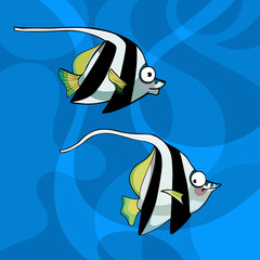 cartoon two striped fish