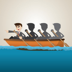 cartoon business team rowing on sea