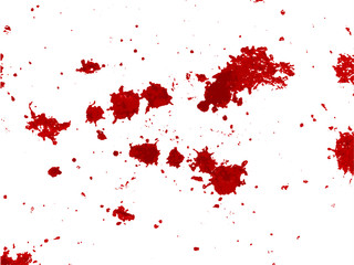 Splattered blood on  white background