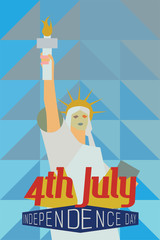 4th July Greeting Card with  the Statue of Liberty