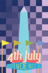 4th July Greeting Card with Washington monument