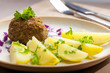 rissole with cooked potatoes