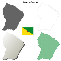 French Guiana blank outline map set