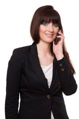 Business-Mädchen am Telefon vor einen weißen Hintergrund