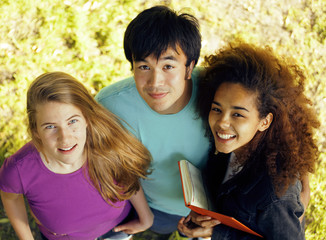 international group of students close up smiling
