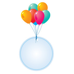 balloon with blank  circle card