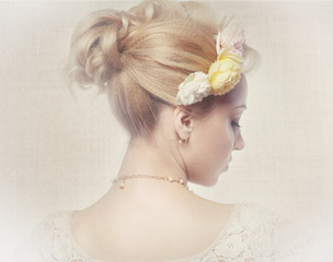woman with roses in hair vintage