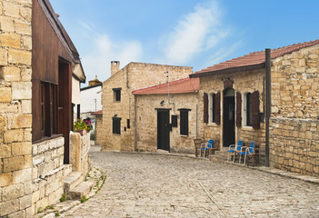 cobblestone street of wine village in Cyprus