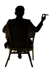 Silhouette of businessman sit