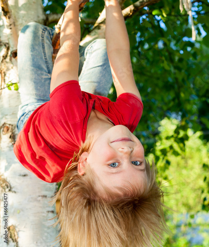 canvas print picture Child hanging from a tree branch
