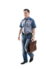 Man in casual with briefcase
