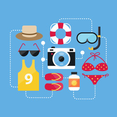 Flat Design Concept Summer Accessories and Summer Icons Vectors