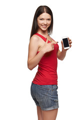 Young woman show display of mobile cell phone