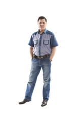 Man in jeans and shirt
