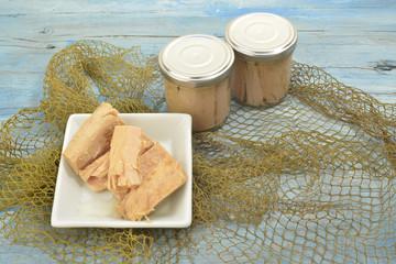 Albacore in olive oil glass jar