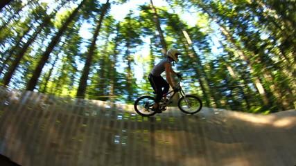 Mountain Biking Wallride Sequence Slow Motion