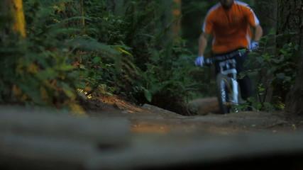 Mountain Biking Jumps Follow Focus Slow Motion