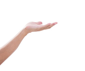 open palm hand gesture of male hand on white background. clippin