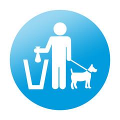 Etiqueta redonda recogida excremento canino