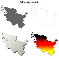 Schleswig-Holstein blank outline map set